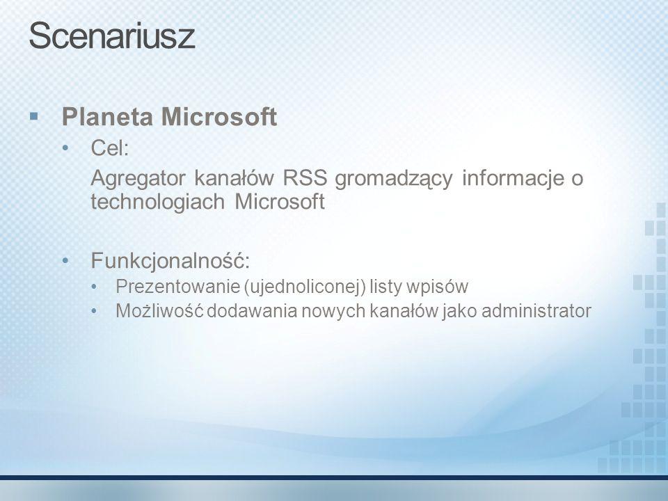 Scenariusz  Planeta Microsoft Cel: Agregator kanałów RSS gromadzący informacje o technologiach Microsoft Funkcjonalność: Prezentowanie (ujednoliconej