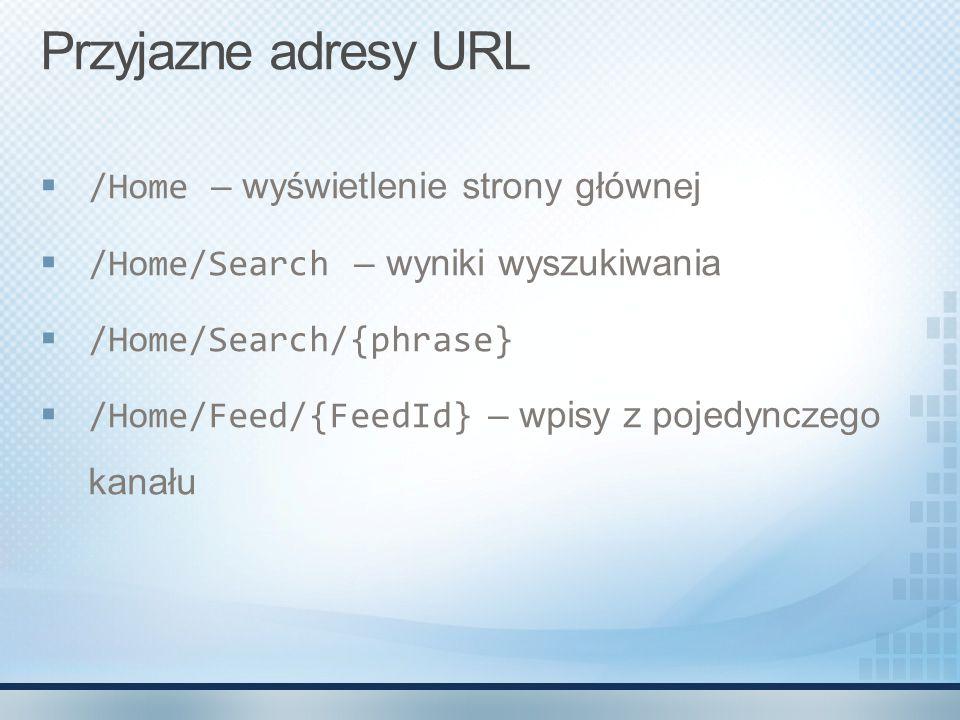 Przyjazne adresy URL  /Home – wyświetlenie strony głównej  /Home/Search – wyniki wyszukiwania  /Home/Search/{phrase}  /Home/Feed/{FeedId} – wpisy