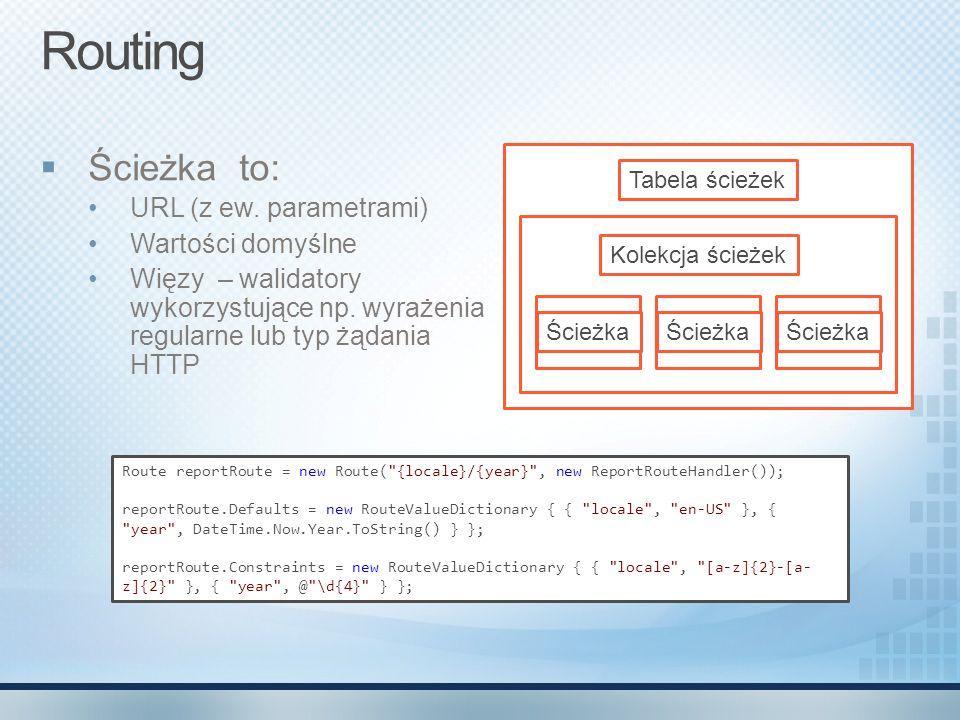 Routing  Ścieżka to: URL (z ew. parametrami) Wartości domyślne Więzy – walidatory wykorzystujące np. wyrażenia regularne lub typ żądania HTTP Tabela