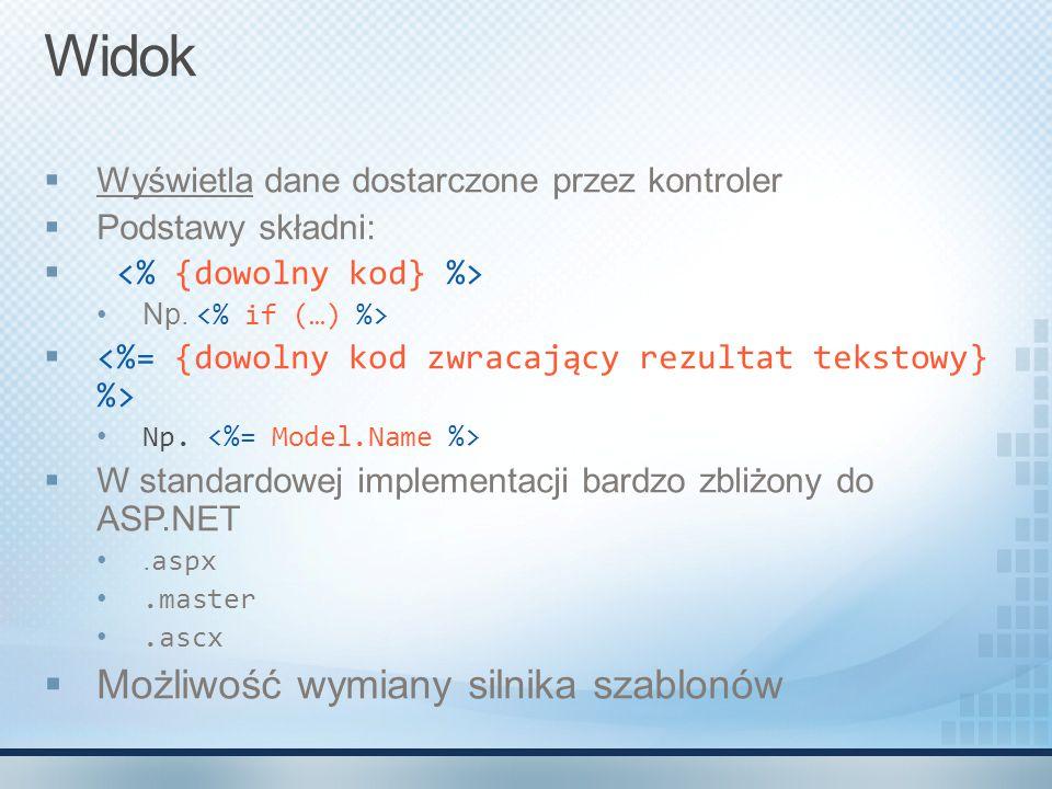 Widok  Wyświetla dane dostarczone przez kontroler  Podstawy składni:  Np.  Np.  W standardowej implementacji bardzo zbliżony do ASP.NET. aspx.mas