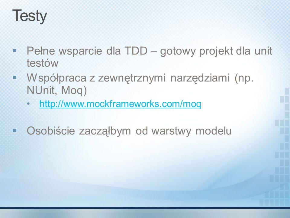 Testy  Pełne wsparcie dla TDD – gotowy projekt dla unit testów  Współpraca z zewnętrznymi narzędziami (np. NUnit, Moq) http://www.mockframeworks.com