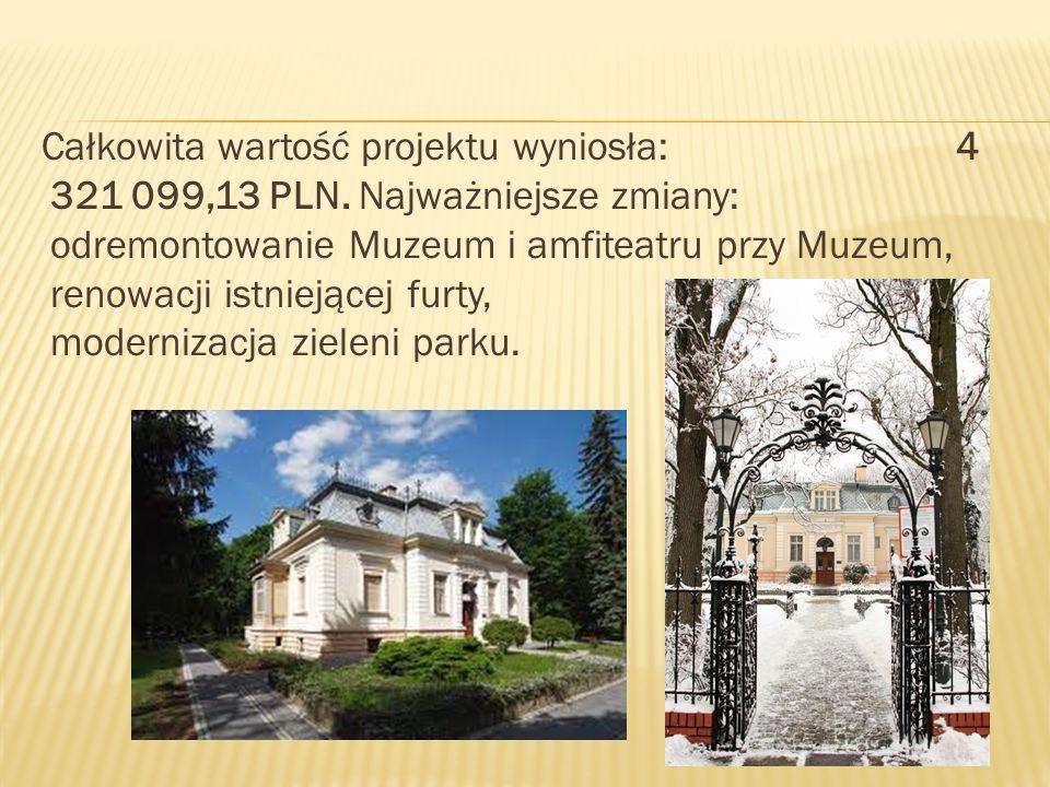 Całkowita wartość projektu wyniosła: 4 321 099,13 PLN.