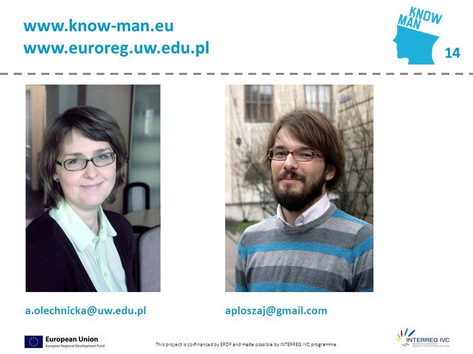 14 This project is co-financed by ERDF and made possible by INTERREG IVC programme www.know-man.eu www.euroreg.uw.edu.pl a.olechnicka@uw.edu.pl aplosz