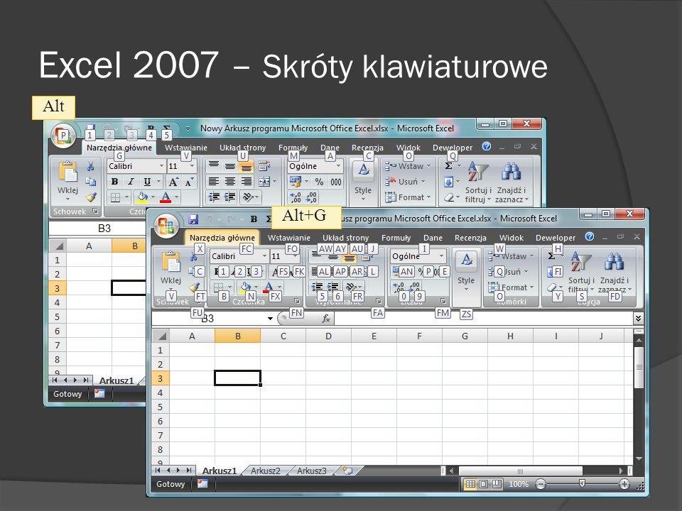 Excel 2007 – Karty kontekstowe karta kontekstowa Karty kontekstowe są wyświetlane tylko wtedy, gdy są potrzebne i gdy ułatwiają znajdowanie i używanie poleceń potrzebnych do wykonania operacji - udostępniają użytkownikowi potrzebne funkcje w najbardziej odpowiednim czasie.