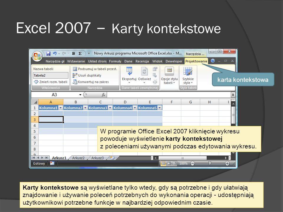 Excel 2007 – Karty kontekstowe karta kontekstowa Karty kontekstowe są wyświetlane tylko wtedy, gdy są potrzebne i gdy ułatwiają znajdowanie i używanie