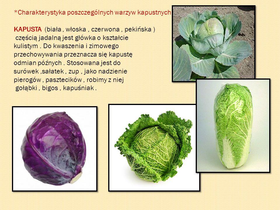*Charakterystyka poszczególnych warzyw kapustnych KAPUSTA (biała, włoska, czerwona, pekińska ) częścią jadalną jest główka o kształcie kulistym. Do kw
