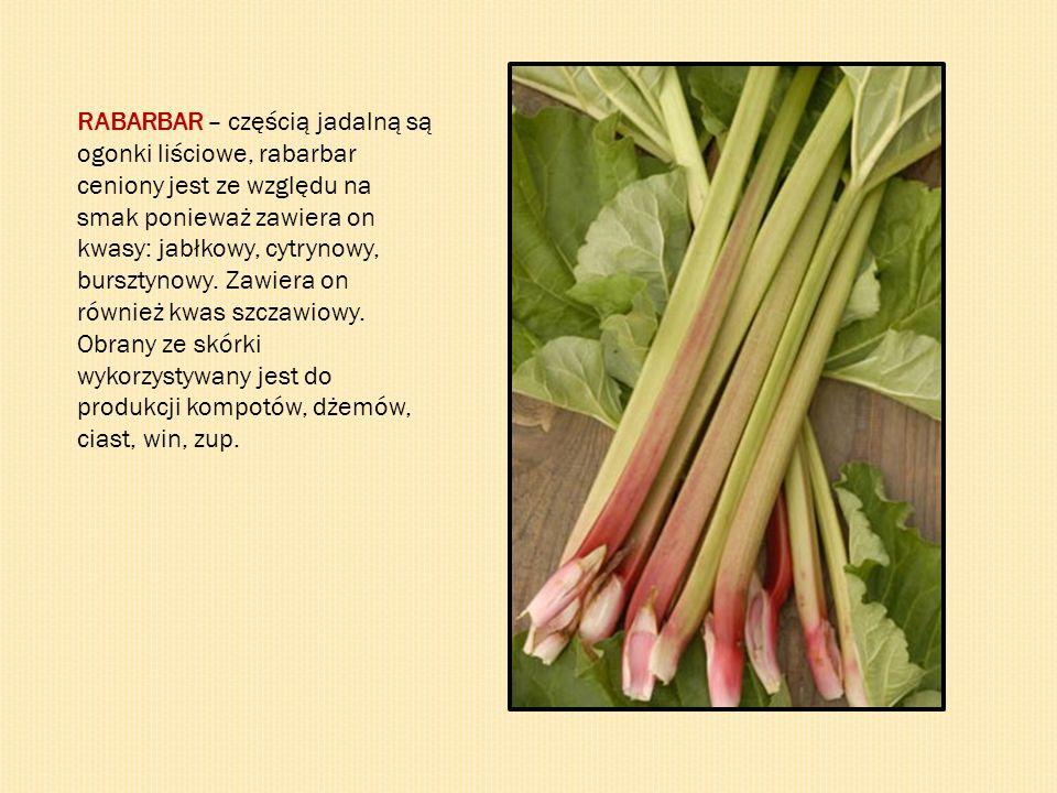 RABARBAR – częścią jadalną są ogonki liściowe, rabarbar ceniony jest ze względu na smak ponieważ zawiera on kwasy: jabłkowy, cytrynowy, bursztynowy. Z