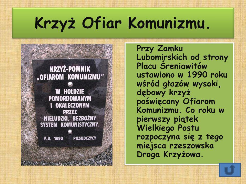 Krzyż Ofiar Komunizmu. Przy Zamku Lubomirskich od strony Placu Śreniawitów ustawiono w 1990 roku wśród głazów wysoki, dębowy krzyż poświęcony Ofiarom