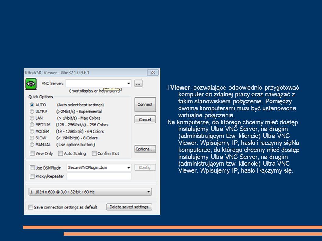 Zdalne sterowanie pulpitem przez Internet Potrzebny jest program Real VNC.