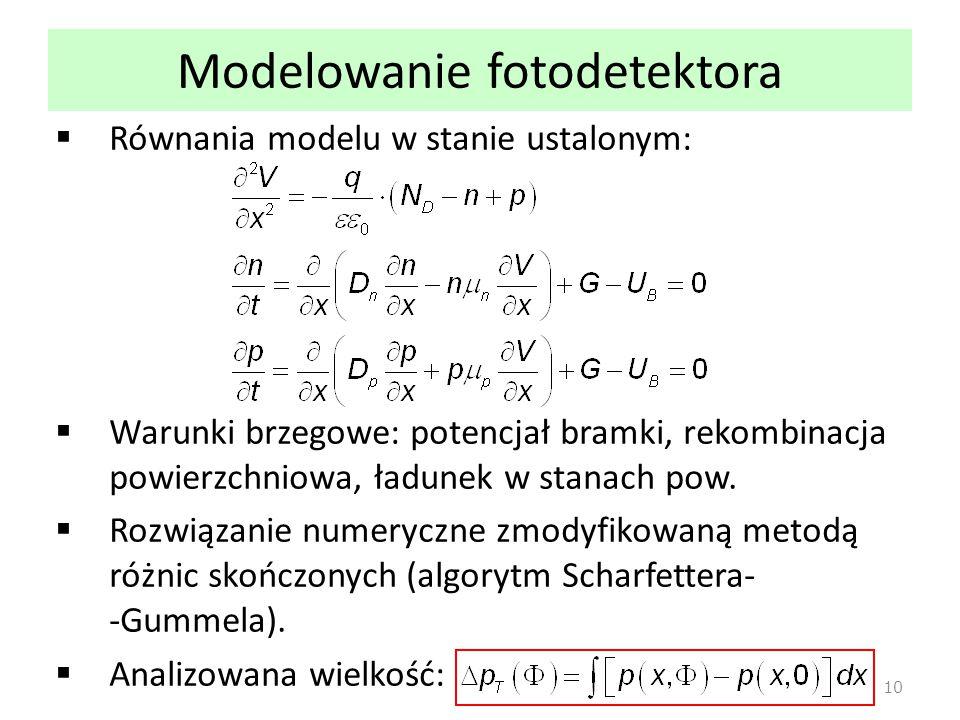 Modelowanie fotodetektora  Równania modelu w stanie ustalonym:  Warunki brzegowe: potencjał bramki, rekombinacja powierzchniowa, ładunek w stanach p