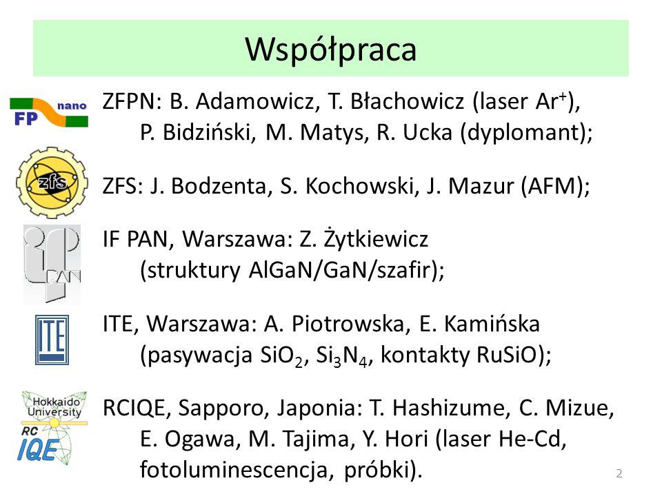 Współpraca ZFPN: B. Adamowicz, T. Błachowicz (laser Ar + ), P. Bidziński, M. Matys, R. Ucka (dyplomant); ZFS: J. Bodzenta, S. Kochowski, J. Mazur (AFM
