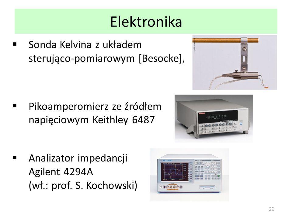 Elektronika  Sonda Kelvina z układem sterująco-pomiarowym [Besocke],  Pikoamperomierz ze źródłem napięciowym Keithley 6487  Analizator impedancji Agilent 4294A (wł.: prof.