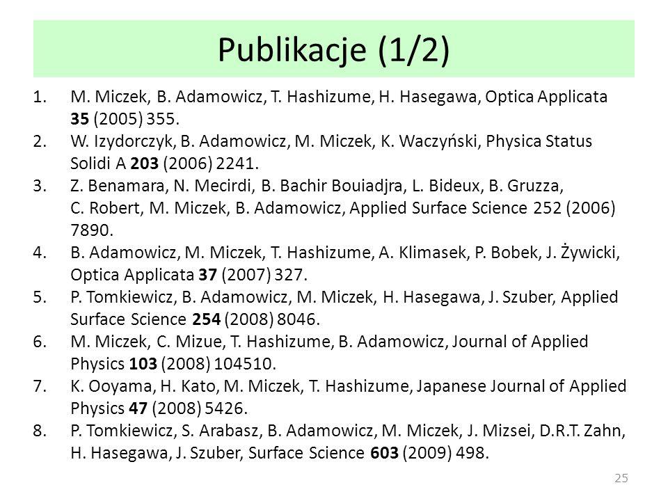 Publikacje (1/2) 1.M.Miczek, B. Adamowicz, T. Hashizume, H.