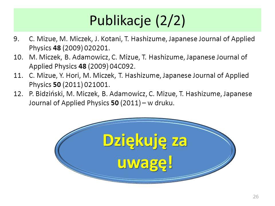 Publikacje (2/2) 9.C.Mizue, M. Miczek, J. Kotani, T.