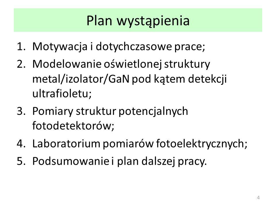 Plan wystąpienia 1.Motywacja i dotychczasowe prace; 2.Modelowanie oświetlonej struktury metal/izolator/GaN pod kątem detekcji ultrafioletu; 3.Pomiary