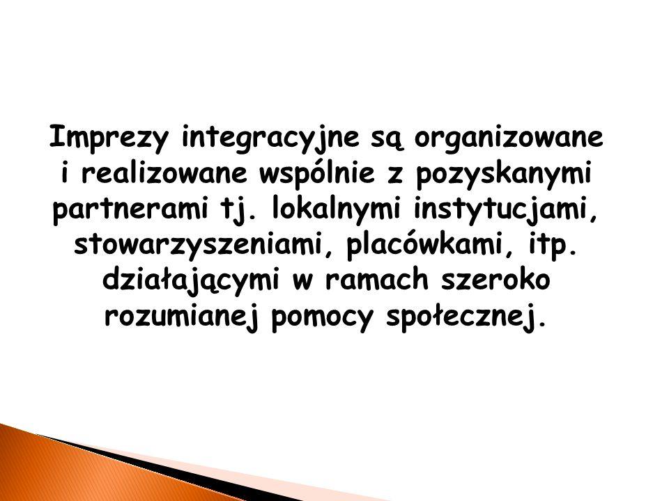 Imprezy integracyjne są organizowane i realizowane wspólnie z pozyskanymi partnerami tj.