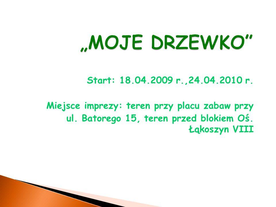 Start: 18.04.2009 r.,24.04.2010 r. Miejsce imprezy: teren przy placu zabaw przy ul.