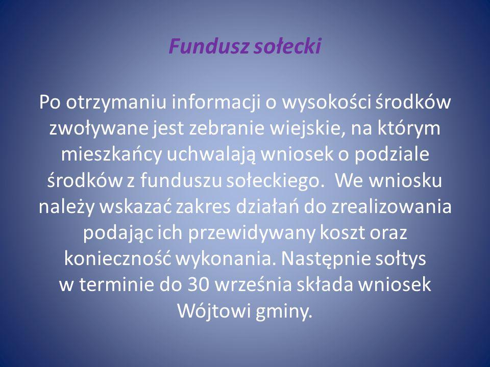 Fundusz sołecki Po otrzymaniu informacji o wysokości środków zwoływane jest zebranie wiejskie, na którym mieszkańcy uchwalają wniosek o podziale środków z funduszu sołeckiego.