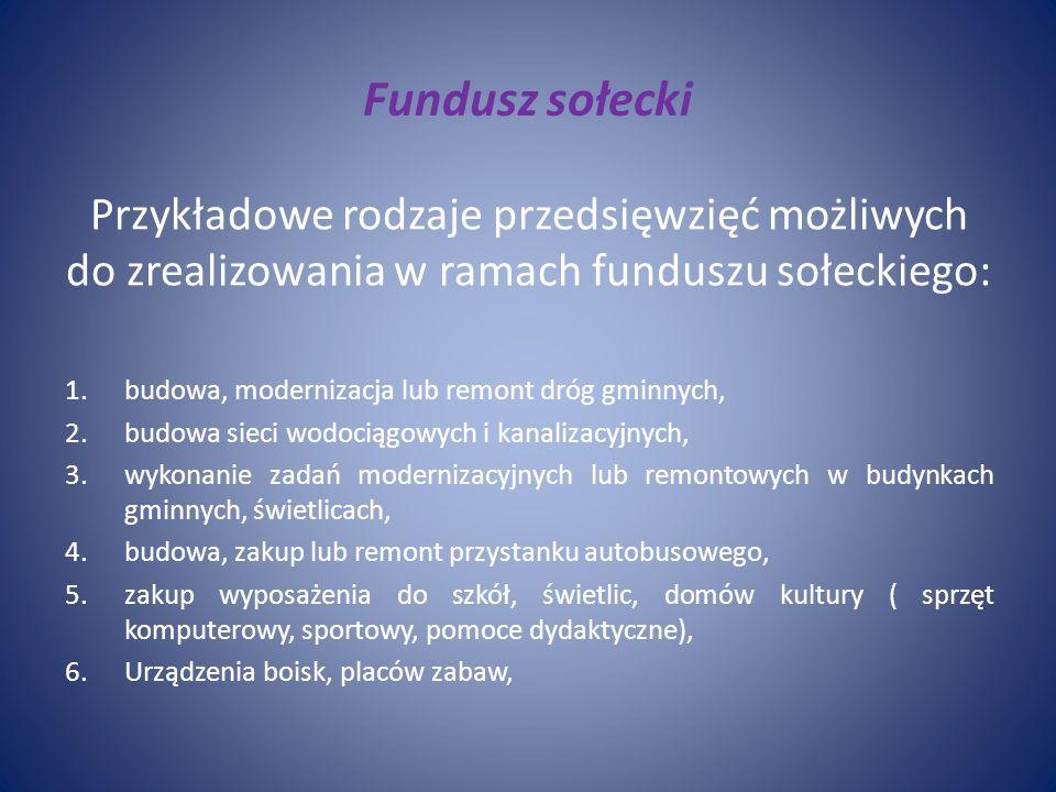 Fundusz sołecki Przykładowe rodzaje przedsięwzięć możliwych do zrealizowania w ramach funduszu sołeckiego: 1.budowa, modernizacja lub remont dróg gmin