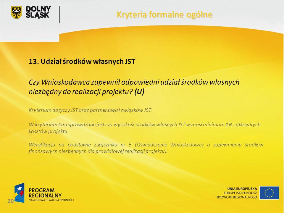 20 Kryteria formalne ogólne 13. Udział środków własnych JST Czy Wnioskodawca zapewnił odpowiedni udział środków własnych niezbędny do realizacji proje