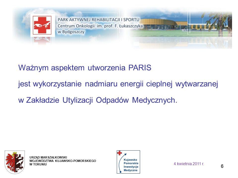 6 Ważnym aspektem utworzenia PARIS jest wykorzystanie nadmiaru energii cieplnej wytwarzanej w Zakładzie Utylizacji Odpadów Medycznych.