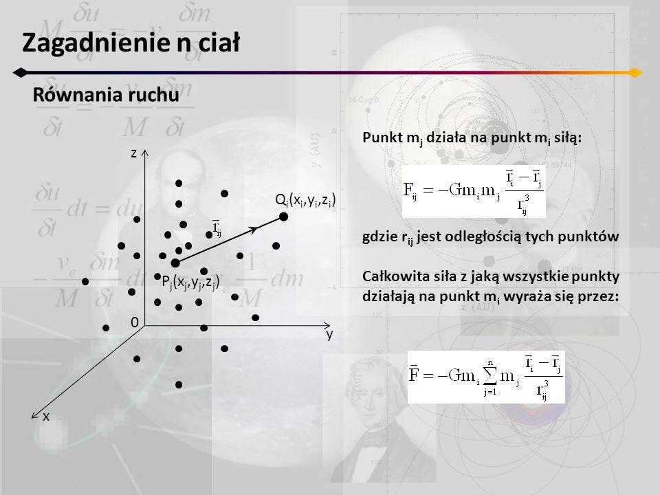 Zagadnienie n ciał Równania ruchu z y x 0 P j (x j,y j,z j ) Q i (x i,y i,z i ) Punkt m j działa na punkt m i siłą: gdzie r ij jest odległością tych p