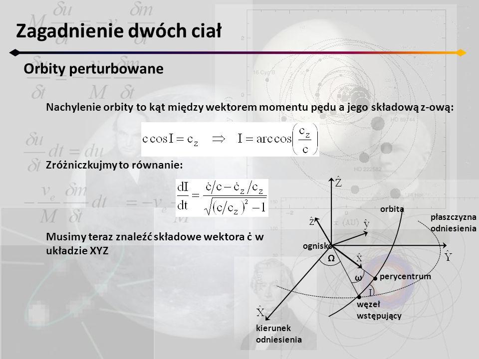 Zagadnienie dwóch ciał Orbity perturbowane Nachylenie orbity to kąt między wektorem momentu pędu a jego składową z-ową: Zróżniczkujmy to równanie: Musimy teraz znaleźć składowe wektora ċ w układzie XYZ Ω I ω ognisko orbita płaszczyzna odniesienia perycentrum kierunek odniesienia węzeł wstępujący