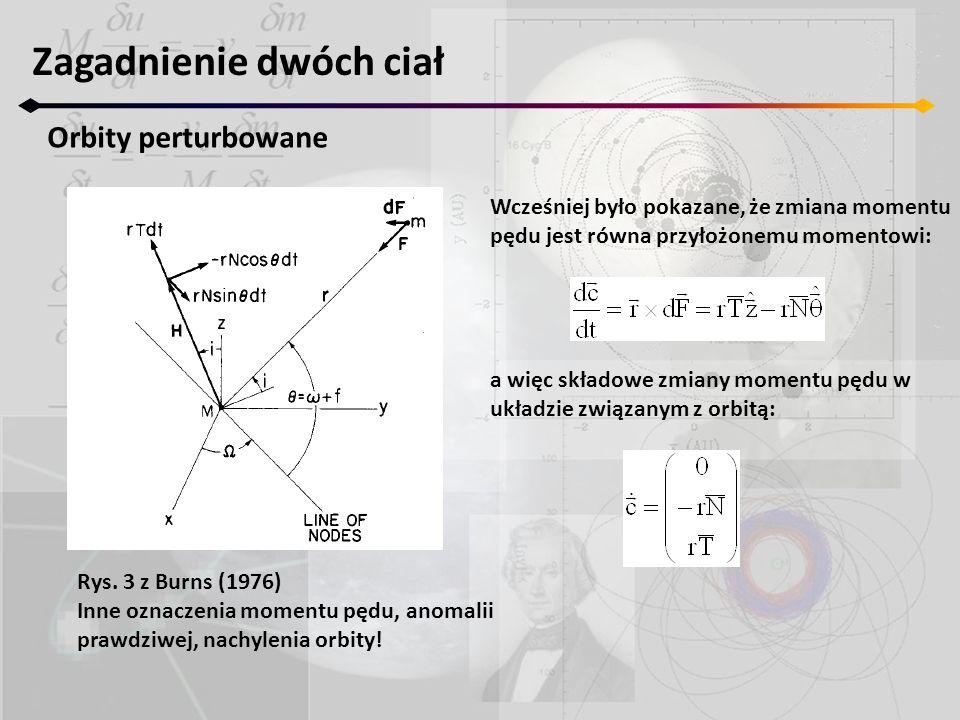 Zagadnienie dwóch ciał Orbity perturbowane Rys. 3 z Burns (1976) Inne oznaczenia momentu pędu, anomalii prawdziwej, nachylenia orbity! Wcześniej było