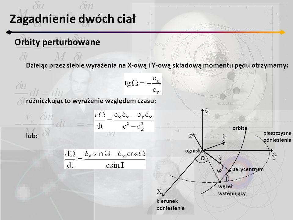 Zagadnienie dwóch ciał Orbity perturbowane Dzieląc przez siebie wyrażenia na X-ową i Y-ową składową momentu pędu otrzymamy: różniczkując to wyrażenie względem czasu: lub: Ω I ω ognisko orbita płaszczyzna odniesienia perycentrum kierunek odniesienia węzeł wstępujący