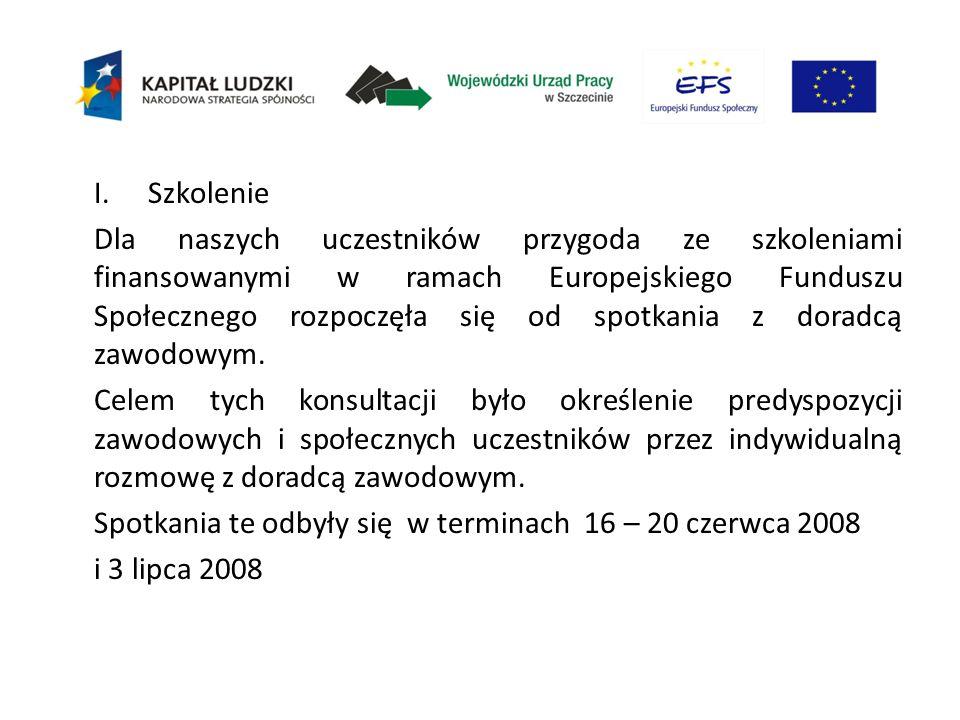 I.Szkolenie Dla naszych uczestników przygoda ze szkoleniami finansowanymi w ramach Europejskiego Funduszu Społecznego rozpoczęła się od spotkania z do