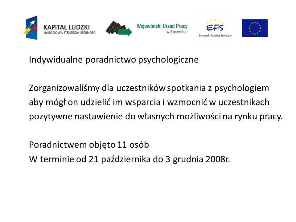 Indywidualne poradnictwo psychologiczne Zorganizowaliśmy dla uczestników spotkania z psychologiem aby mógł on udzielić im wsparcia i wzmocnić w uczestnikach pozytywne nastawienie do własnych możliwości na rynku pracy.