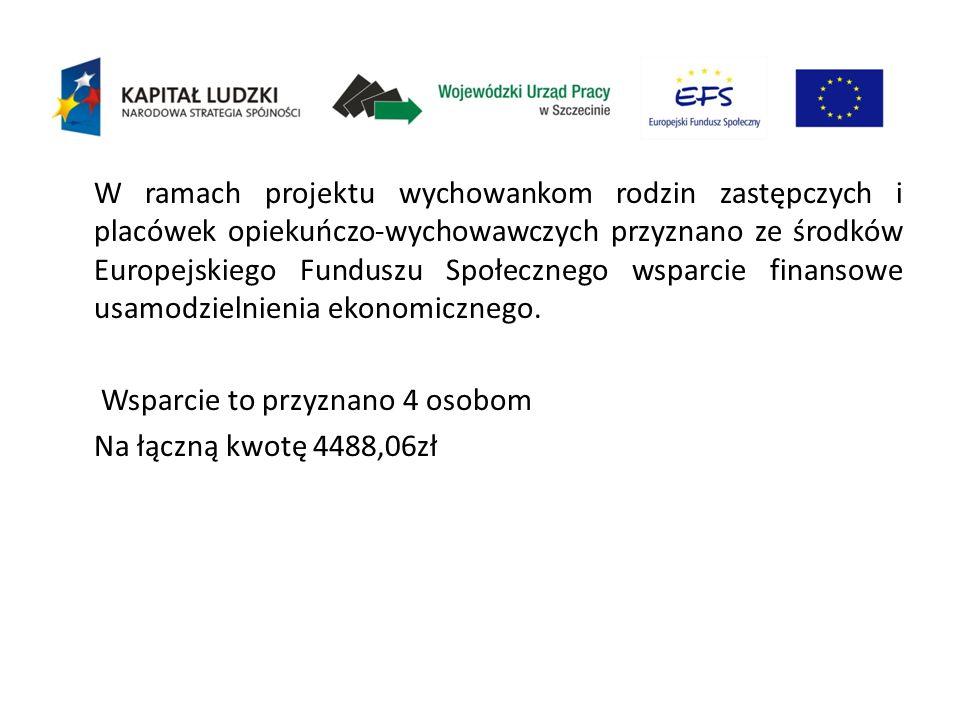 W ramach projektu wychowankom rodzin zastępczych i placówek opiekuńczo-wychowawczych przyznano ze środków Europejskiego Funduszu Społecznego wsparcie