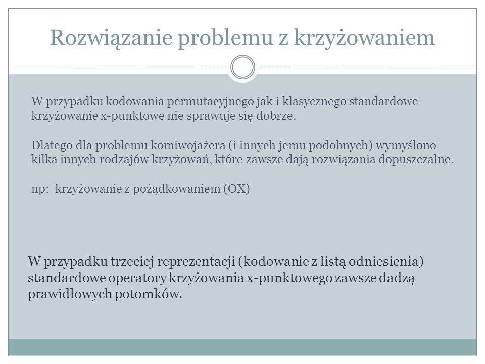 Rozwiązanie problemu z krzyżowaniem W przypadku kodowania permutacyjnego jak i klasycznego standardowe krzyżowanie x-punktowe nie sprawuje się dobrze.