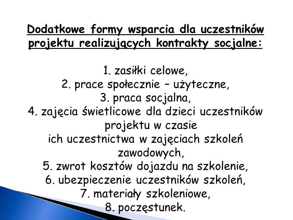 Dodatkowe formy wsparcia dla uczestników projektu realizujących kontrakty socjalne: 1.zasiłki celowe, 2.
