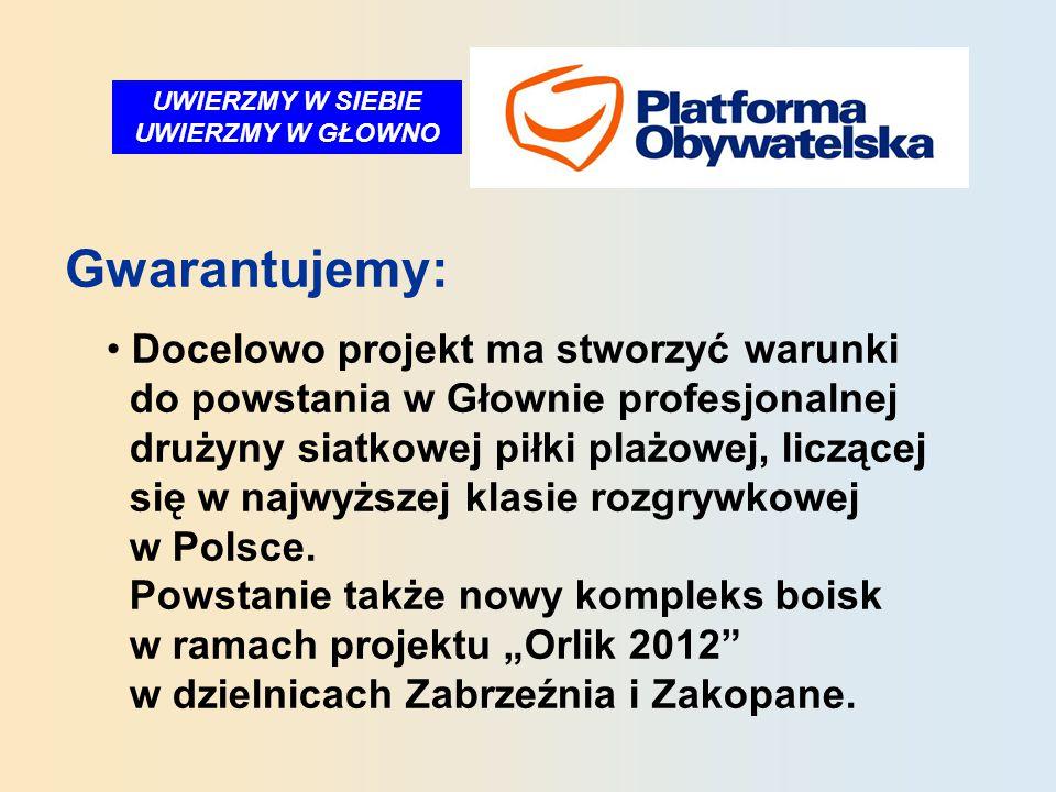 UWIERZMY W SIEBIE UWIERZMY W GŁOWNO Gwarantujemy: Docelowo projekt ma stworzyć warunki do powstania w Głownie profesjonalnej drużyny siatkowej piłki plażowej, liczącej się w najwyższej klasie rozgrywkowej w Polsce.