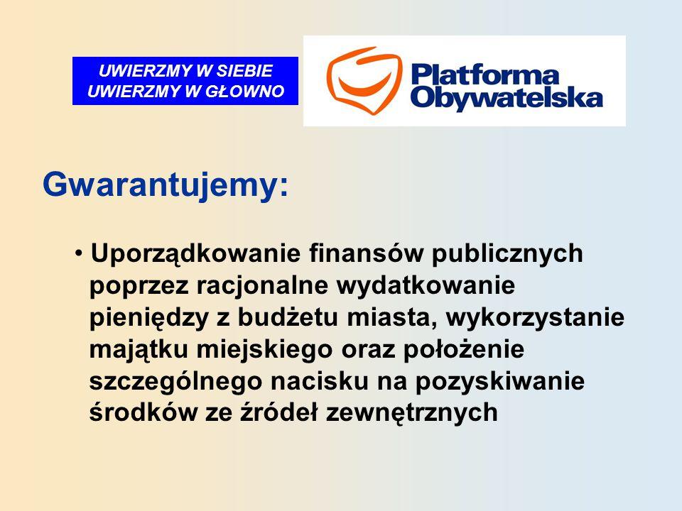 UWIERZMY W SIEBIE UWIERZMY W GŁOWNO Gwarantujemy: Uporządkowanie finansów publicznych poprzez racjonalne wydatkowanie pieniędzy z budżetu miasta, wykorzystanie majątku miejskiego oraz położenie szczególnego nacisku na pozyskiwanie środków ze źródeł zewnętrznych