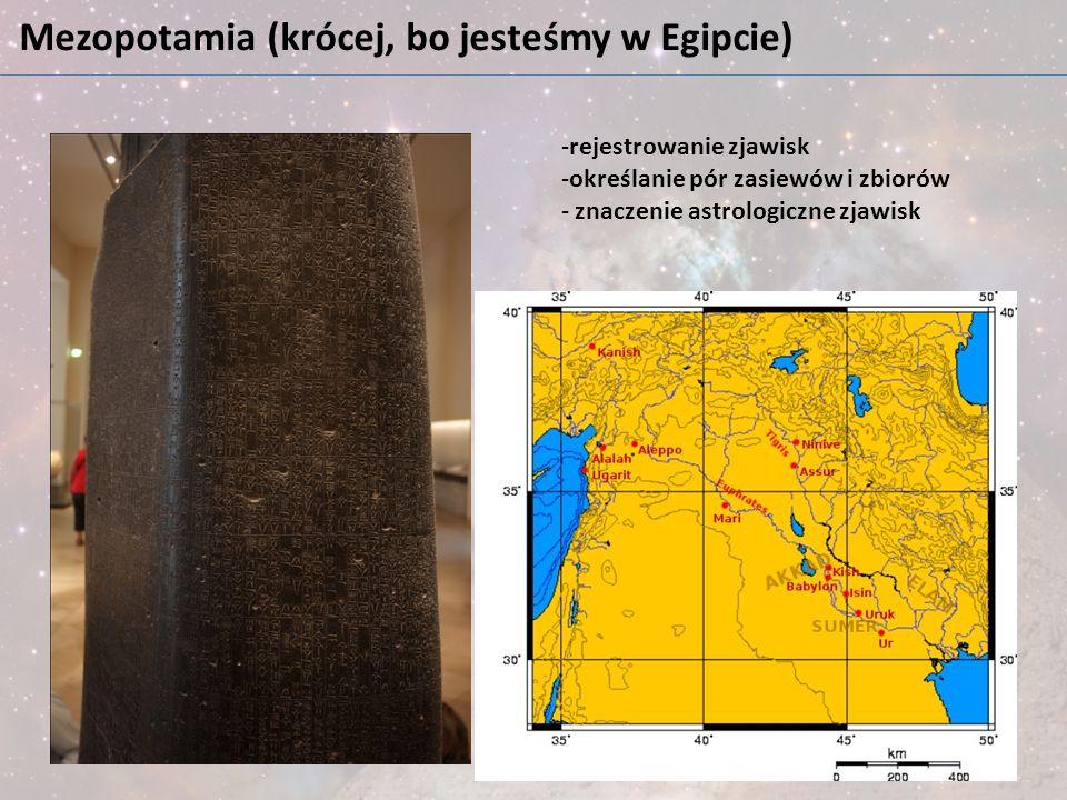 Mezopotamia (krócej, bo jesteśmy w Egipcie) -rejestrowanie zjawisk -określanie pór zasiewów i zbiorów - znaczenie astrologiczne zjawisk