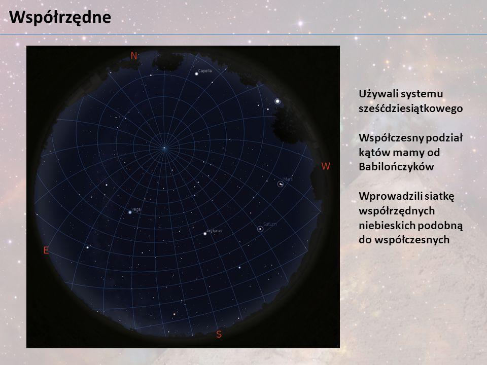 Współrzędne Używali systemu sześćdziesiątkowego Współczesny podział kątów mamy od Babilończyków Wprowadzili siatkę współrzędnych niebieskich podobną d