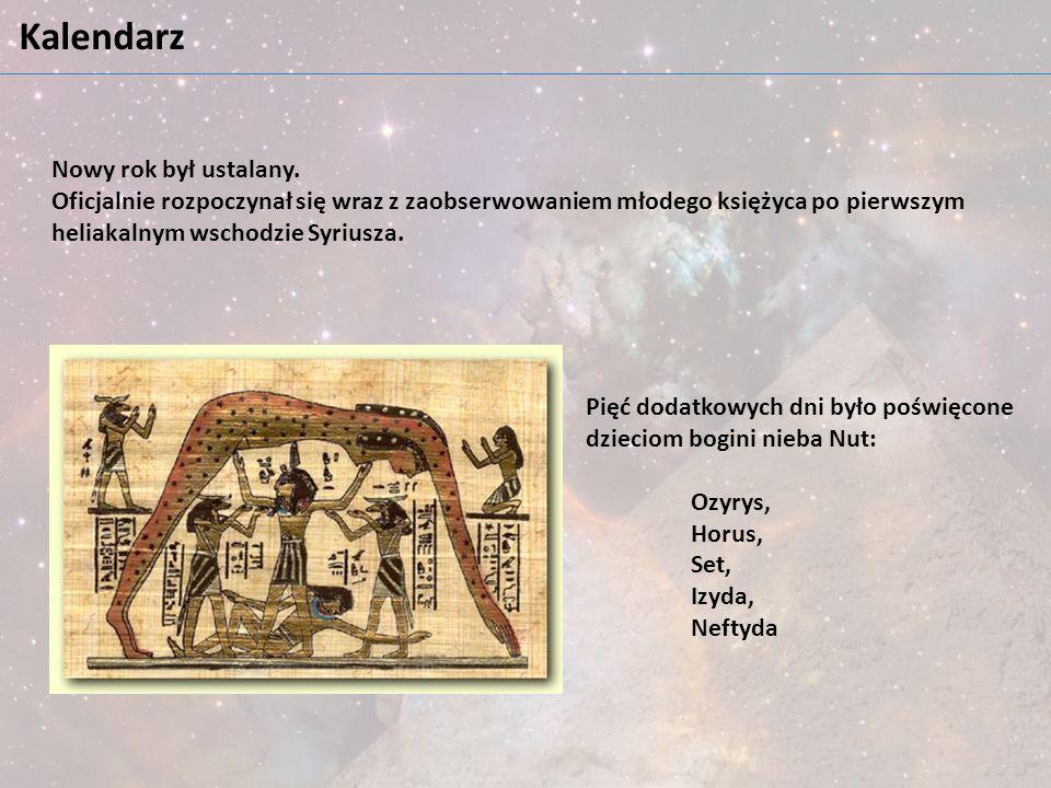Kalendarz Nowy rok był ustalany. Oficjalnie rozpoczynał się wraz z zaobserwowaniem młodego księżyca po pierwszym heliakalnym wschodzie Syriusza. Pięć
