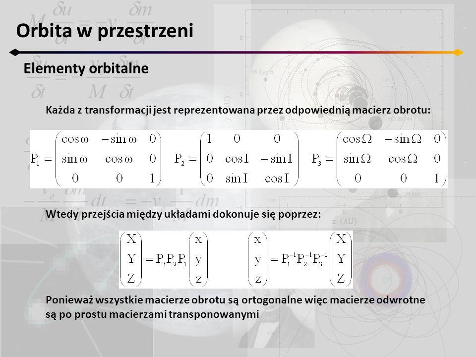 Orbita w przestrzeni Elementy orbitalne Każda z transformacji jest reprezentowana przez odpowiednią macierz obrotu: Wtedy przejścia między układami do