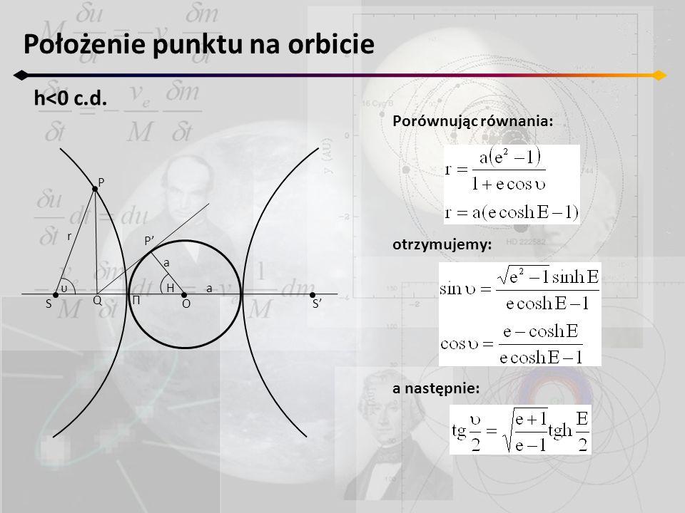 Położenie punktu na orbicie h<0 c.d. S'S a a P P' r O ΠQ υH Porównując równania: otrzymujemy: a następnie: