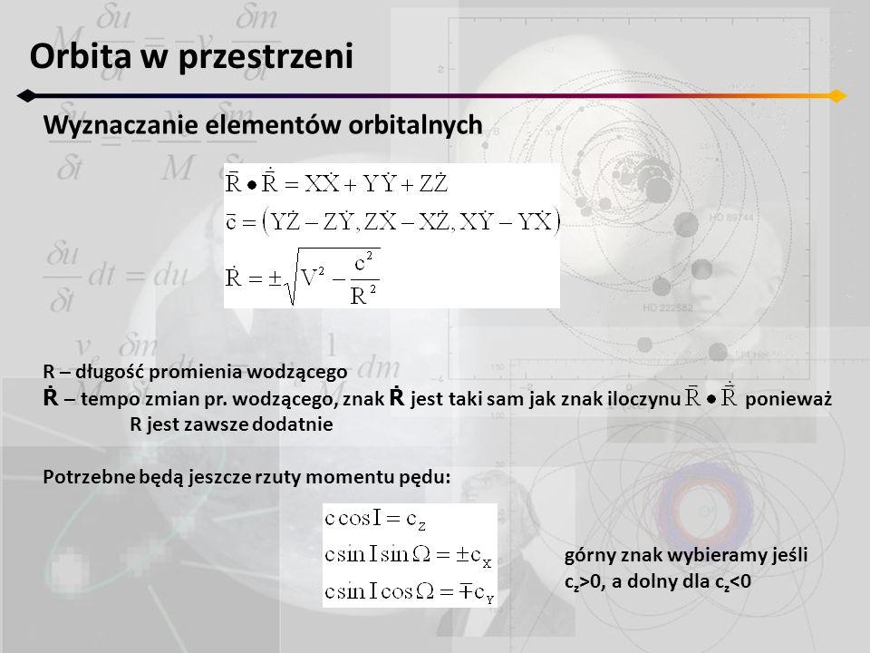 Orbita w przestrzeni Wyznaczanie elementów orbitalnych R – długość promienia wodzącego Ṙ – tempo zmian pr. wodzącego, znak Ṙ jest taki sam jak znak il