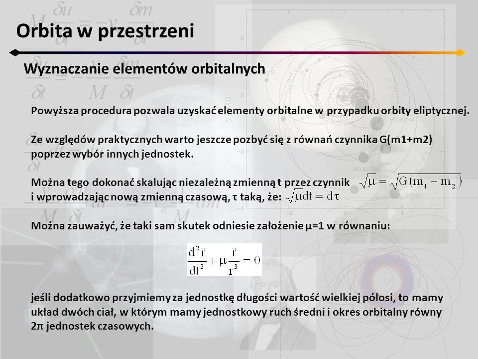 Orbita w przestrzeni Wyznaczanie elementów orbitalnych Powyższa procedura pozwala uzyskać elementy orbitalne w przypadku orbity eliptycznej. Ze względ