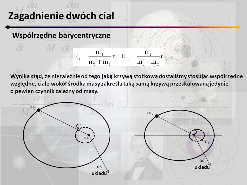 Zagadnienie dwóch ciał Współrzędne barycentryczne Wynika stąd, że niezależnie od tego jaką krzywą stożkową dostaliśmy stosując współrzędne względne, c