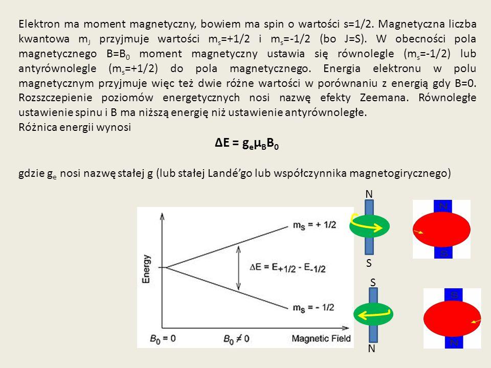 Elektron ma moment magnetyczny, bowiem ma spin o wartości s=1/2. Magnetyczna liczba kwantowa m J przyjmuje wartości m s =+1/2 i m s =-1/2 (bo J=S). W