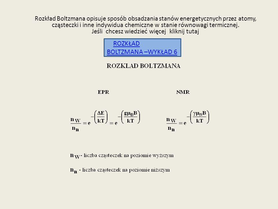 Rozkład Boltzmana opisuje sposób obsadzania stanów energetycznych przez atomy, cząsteczki i inne indywidua chemiczne w stanie równowagi termicznej. Je