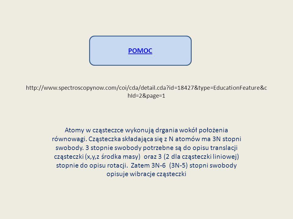 http://www.spectroscopynow.com/coi/cda/detail.cda?id=18427&type=EducationFeature&c hId=2&page=1 Atomy w cząsteczce wykonują drgania wokół położenia ró
