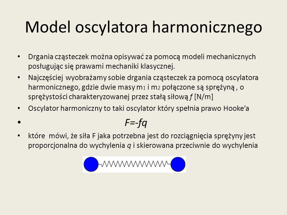 Model oscylatora harmonicznego Drgania cząsteczek można opisywać za pomocą modeli mechanicznych posługując się prawami mechaniki klasycznej. Najczęści