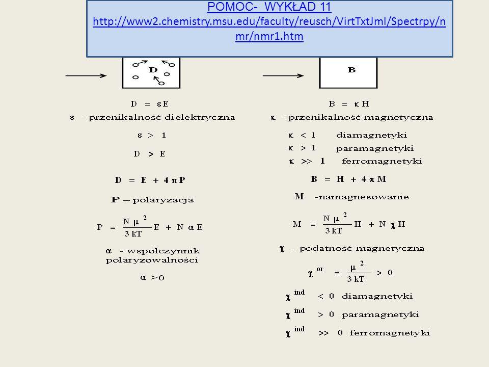 POMOC- WYKŁAD 11 http://www2.chemistry.msu.edu/faculty/reusch/VirtTxtJml/Spectrpy/n mr/nmr1.htm