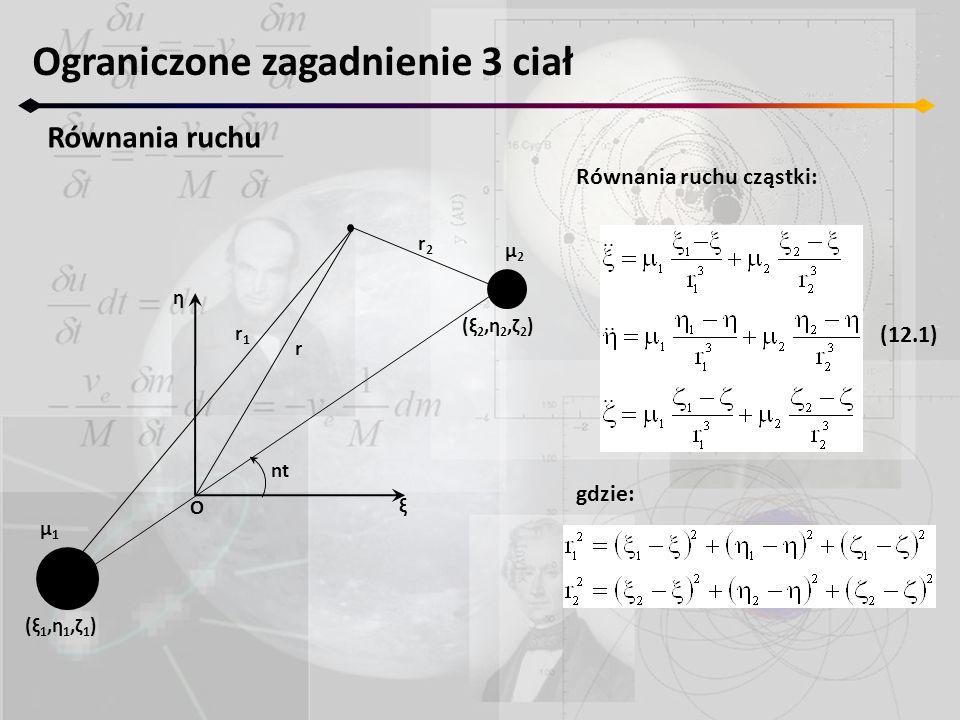 Ograniczone zagadnienie 3 ciał Równania ruchu Równania ruchu cząstki: gdzie: nt ξ η μ2μ2 μ1μ1 r1r1 r r2r2 O (ξ2,η2,ζ2)(ξ2,η2,ζ2) (ξ1,η1,ζ1)(ξ1,η1,ζ1)